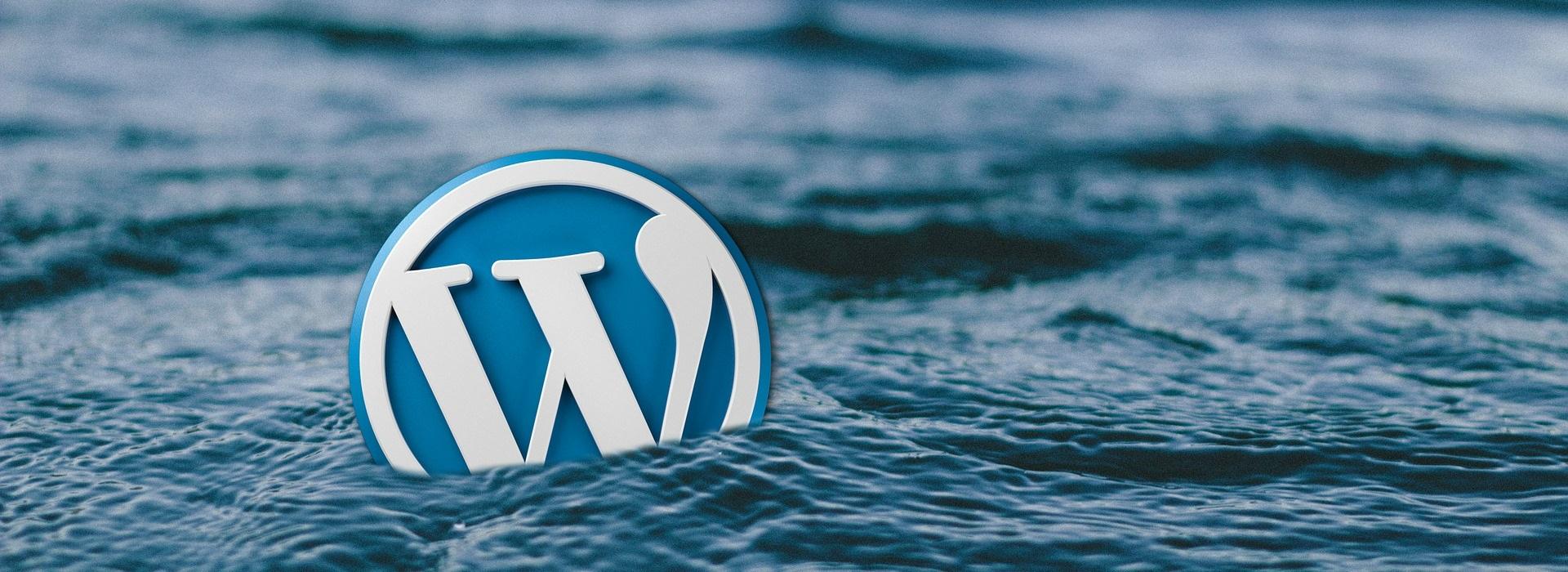 Logo Wordpress dans les vagues de la mer.
